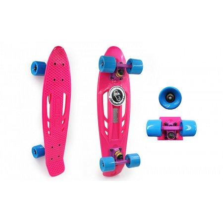 Penny (пенниборд) PU с отверстиями дека 22inch SK-409-6 RETRO PORTABLE (розовый-фиолетовый-голубой)