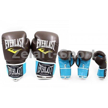 Перчатки боксерские PU ELAST BO-5032-12 (р-р 12oz, коричневый (кофе)-голубой)