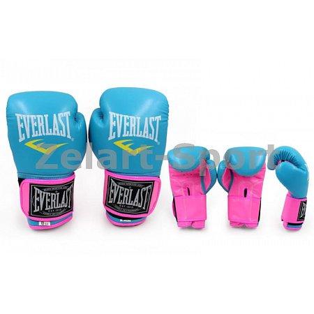 Перчатки боксерские PU ELAST BO-5033-10 (р-р 10oz, голубой-розовый)