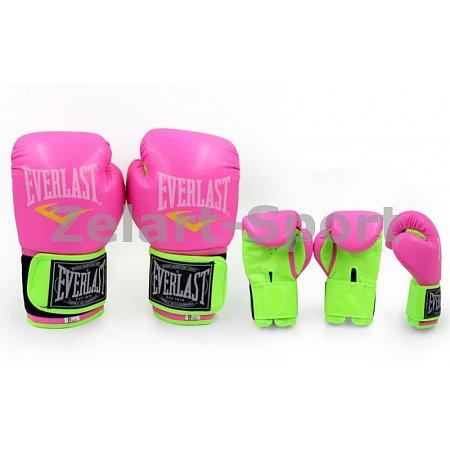 Перчатки боксерские PU ELAST BO-5034-10 (р-р 10oz, розовый-салатовый)