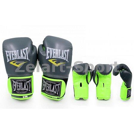 Перчатки боксерские PU ELAST BO-5036-10 (р-р 10oz, серый (графит)-салатовый)