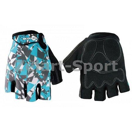Перчатки спортивные SCOYCO BG14-BKBL(M) (PL, PVC, лайкра, открытые пальцы, р-р M, черный-голубой)