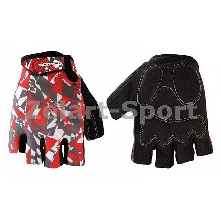 Перчатки спортивные SCOYCO BG14-BKR(M) (PL, PVC, лайкра, открытые пальцы, р-р M, черный-красный)