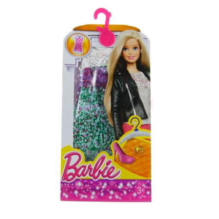 Пестрое платье для Барби, серии Модное платье, Barbie, Mattel, розовый верх и белый низ, CFX65-4