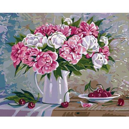 Пионы и вишни, Серия Букет, рисование по номерам, 40 х 50 см, Идейка, КН2061