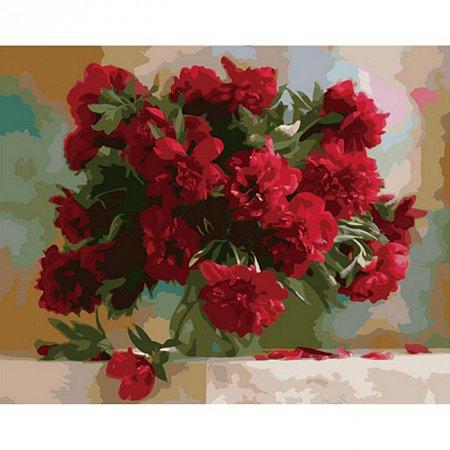 Пионы красные, Серия Букет, рисование по номерам, 40 х 50 см, Идейка, Красные пионы (KH1133)