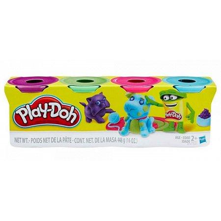 Пластилин - набор из 4 баночек (фиолетовый, салатовый, розовый, бирюзовый), Play-Doh, фиол. зелен. розовый, бирюза, B5517-3