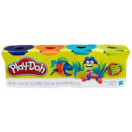 Пластилин - набор из 4 баночек (синий, оранжевый, бирюзовый, желтый), Play-Doh, синий, оранж, бирюза. желтый, B5517-2