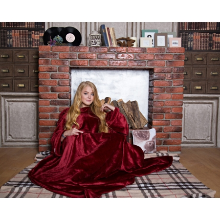 Плед с рукавами Homely Limited Luxury Бордо, велсофт, 140x200 см