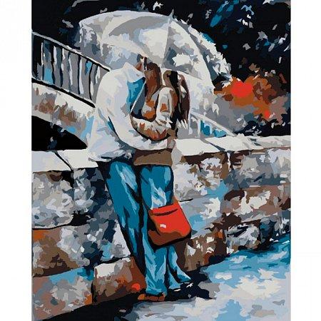 Под дождем, Серия Люди, рисование по номерам, 40 x 50 см, Идейка, КН2658