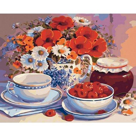 Приглашение на чай, серия Букет, рисование по номерам, 40 х 50 см, Идейка, KH2029