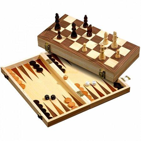 Набор Шахматы-Нарды-Шашки, 35,5х17,8х5 см. Philos 2509