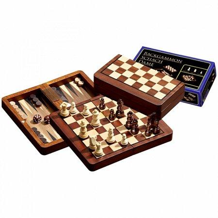 Набор Шахматы-Нарды-Шашки, дорожные, магнитные, 16,5х9х4 см. Philos 2517