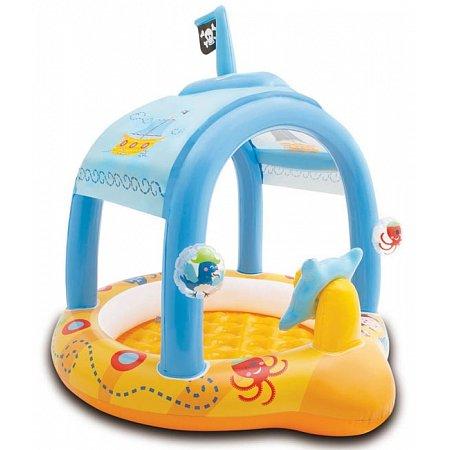 Надувной бассейн с навесом для малышей Маленький капитан, Intex 57426
