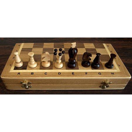 Шахматы средние + Нарды люкс (дуб, ручная работа) C-180b