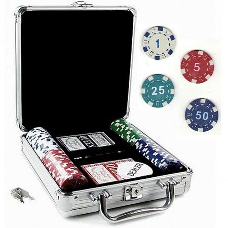 Покерный набор на 100 фишек с номиналом в кейсе. 11,5g-chips