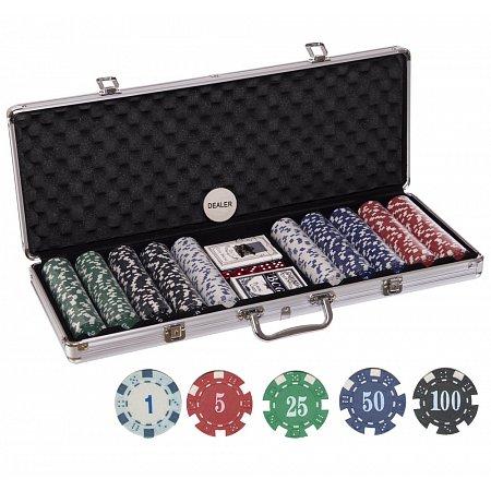 Покерный набор на 500 фишек с номиналом в кейсе. 11,5g-chips