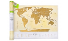Скретч-карта мира Travel Map Gold New Original (на русском)
