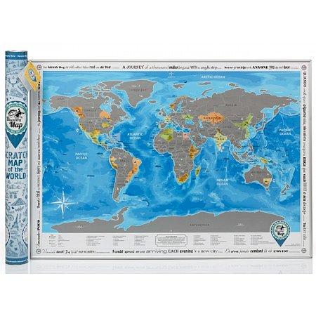 Скретч карта мира Discovery Map (англ. язык, рельеф)