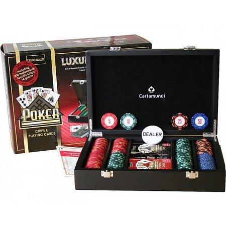 Набор для покера на 200 фишек с номиналом 5-50, Cartamundi Poker Lux Set 200. 14g-chips