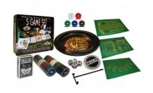 Мини-казино с рулеткой 5 игр в 1 (рулетка, карты, поле, 100 фишек с номиналом)