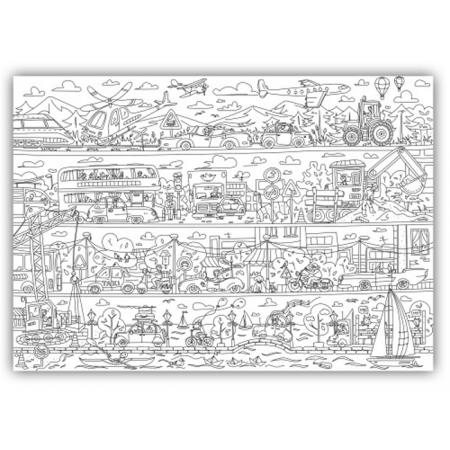 """Плакат-раскраска """"Пригоди у автопарку"""" от ОKroshka (84 x 60 см)"""