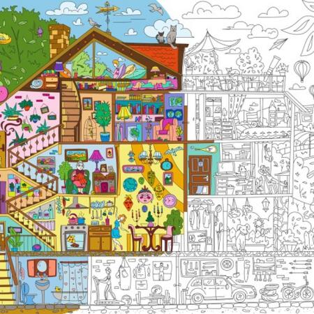 """Плакат-раскраска """"Чиє хто вдома?"""" от ОKroshka (119 x 84 см)"""