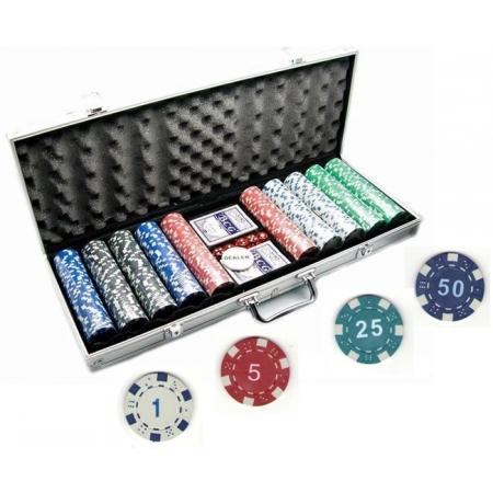 Покерный набор на 500 фишек с номиналом в кейсе. УЦЕНКА