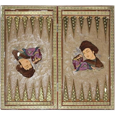 Восточные нарды Мозаика хатам с росписью (Иран) 50 x 50 см, TYPE-G