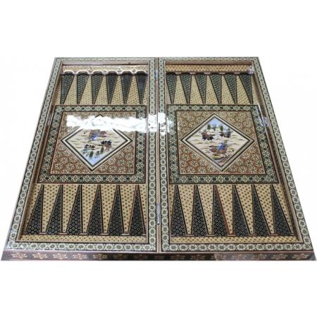 Восточные нарды Мозаика хатам с росписью (Иран) 50 x 50 см, TYPE-OK-A