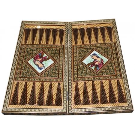 Восточные нарды Мозаика хатам с росписью (Иран) 50 x 50 см, TYPE-OK-B