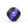 Мяч медицинский (медбол) с двумя рукоятками FI-5111-10 10кг (резина, d-27,5см, черный-фиолетовый)