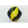 Мяч медицинский (медбол) с двумя рукоятками FI-5111-6 6кг (резина, d-27,5см, черный-желтый)