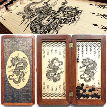 """Нарды деревянные малые """"Китайский дракон"""" 31140-10"""