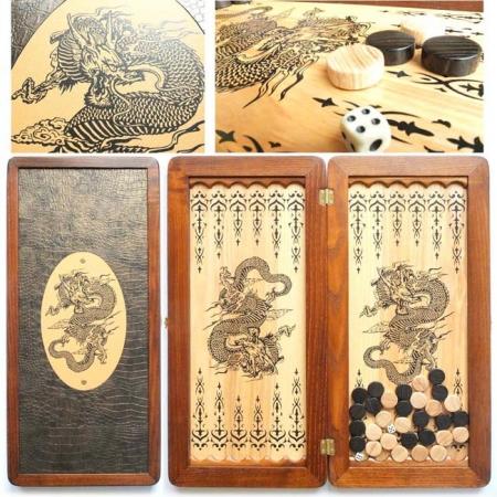 """Нарды деревянные средние """"Китайский дракон"""" 31146-11"""