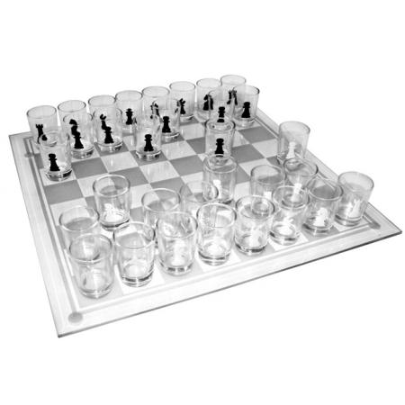 Пьяные шахматы (с рюмками) 25x25см, доска стекло