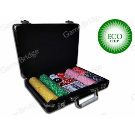 Покерный набор на 200 керамических фишек без номинала ECO Strip-200. 8g-chips (фишки с полосками)
