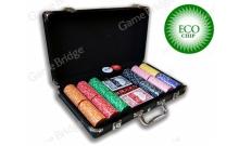 Покерный набор на 300 керамических фишек без номинала ECO Strip-300. 8g-chips (фишки с полосками)