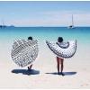 Пляжный коврик Мандала черно-белый
