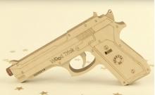 Wood Trick Пистолет (стреляет резинками) - Механическая модель-конструктор из дерева