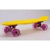 Скейтборд пластиковый Penny LED WHEELS FISH 22in со светящимися колесами SK-405-17 (желтый-фиолет)