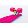 Скейтборд пластиковый Penny RUBBER SOFT TWIN FISH 22in двухцветная дека SK-410-4 (бирюза-розовый)