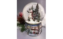 """Снежный шар """"Снеговик в лесу"""" музыкальный, с вращением (стеклянный, D 10 см)"""