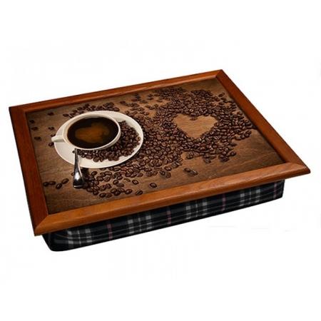 """Поднос на подушке """"Кофейное сердце"""" для ноутбука 2.18"""