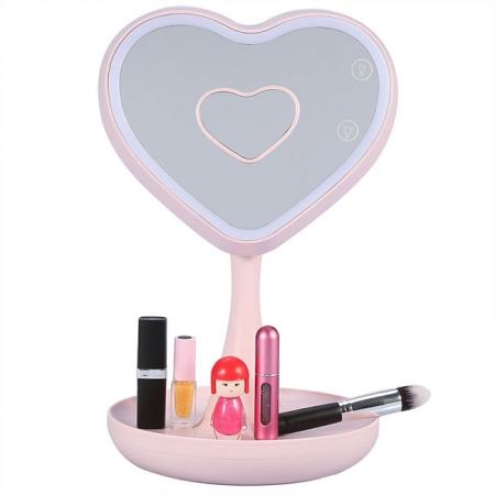 Зеркало косметическое с LED подсветкой и тайником Сердце розовое