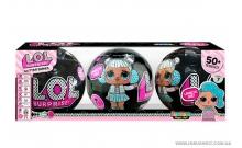 """Куклы """"LOL"""" (ЛОЛ) 3 шт. в черном шаре, серия """"Glitter"""" с блестками (копия Китай)"""