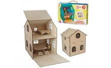 Кукольный домик деревянный с мебелью (3D пазл)