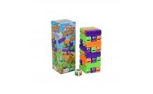 Дженга детская цветная - настольная игра Хитрые червяки, 24 блока, пластик