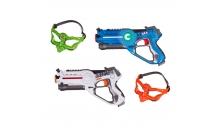 Детский лазертаг UFT Lasertag gun - набор 2 интерактивных бластера + 2 пары очков (белый, голубой)