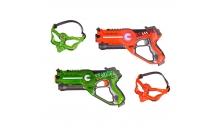 Лазертаг для детей - игровой набор 2 бластера + 2 защитные маски (зеленый, оранжевый)